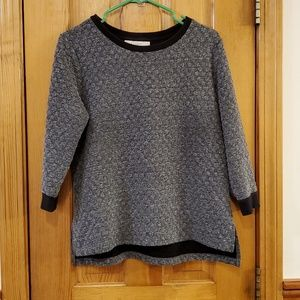 LOFT Gray and Black Quilted Sweater Medium